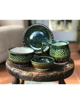 Green Vine Clad Handmade Pottery Gift Set: Mug, Plate, Bowl, And Small Bowl by Etsy