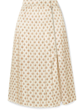 Pleated Floral Print Satin Midi Skirt by Alexachung