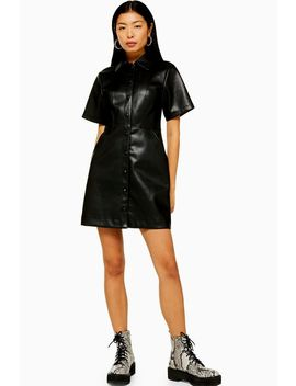 Black Faux Leather Pu Shirt Dress by Topshop