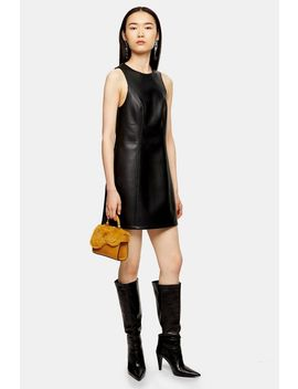 Black Faux Leather Pu Pinafore Dress by Topshop