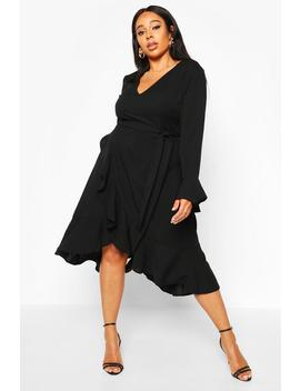 Plus Plunge Neck Frill Detail Midi Dress by Boohoo
