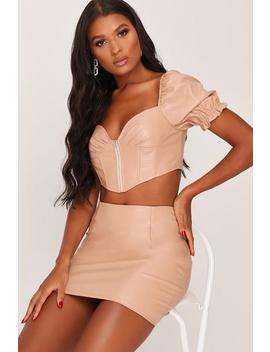 Nude Faux Leather Milk Maid Zip Front Crop Top by I Saw It First