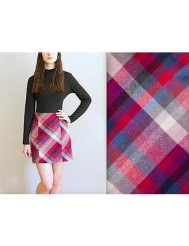 Vintage Mini Skirt, Plaid Mini Skirt, Tartan Mini Skirt, Plaid Skirt, Wool Skirt, Mini Skirt, Boho Mini Skirt, Beatnik Skirt, Mod Skirt by Etsy