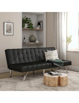 Mainstays Morgan Convertible Tufted Futon, Black Faux Leather by Mainstays