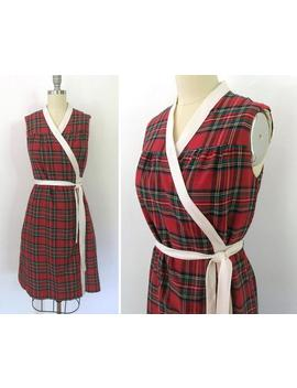 Vintage 70s Plaid Wraparound Dress / Womens Size Small Medium Red Navy Plaid by Etsy