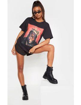 Black Printed Tupac Hand T Shirt by Prettylittlething