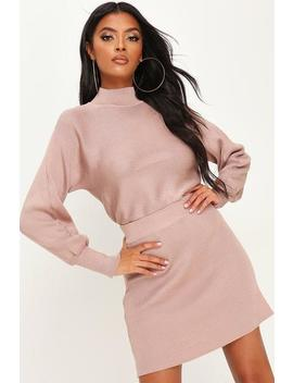 Stone High Neck Knitted Top & Skirt Set by I Saw It First