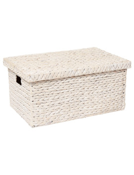 Hyacinth Large Basket With Lid   White Wash by Target