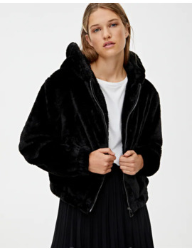 Coloured Hooded Faux Fur Jacket by Pull & Bear