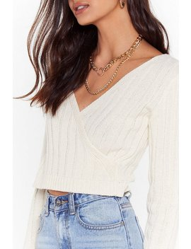 It's A Wrap Ribbed Knit Cropped Sweater by Nasty Gal
