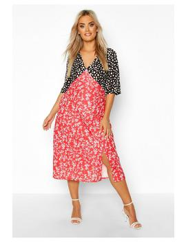 Plus Contrast Floral Side Split Midi Dress by Boohoo