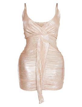 Shape Gold Plisse Drape Dress by Prettylittlething