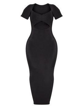 Shape Black Slinky Ruched Bust Cut Out Midi Dress by Prettylittlething
