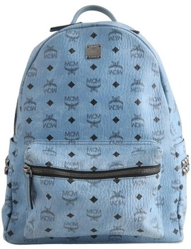 Men's Stark Studded Blue Canvas Backpack by Mcm