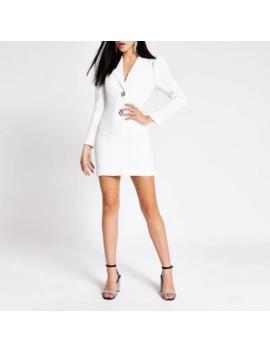 White Diamante Button Long Sleeve Tux Dress by River Island