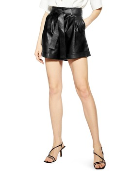 Faux Leather Shorts by Topshop