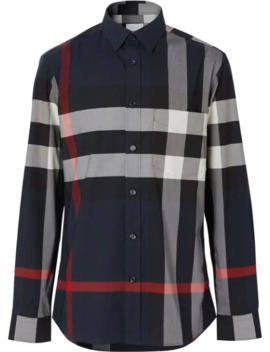 Check Stretch Poplin Shirt by Burberry