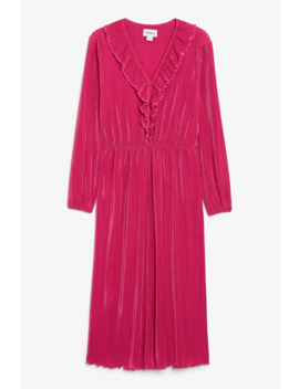 V Neck Ruffle Dress by Monki