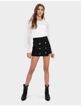 Buttoned Skort Skirts   Bershka United Kingdom by Bershka