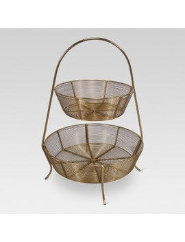 2 Tier Gold Plated Wire Basket   Threshold™ by Shop Collections
