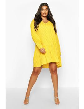 Plus Stripe Tie Neck Tiered Smock Dress by Boohoo