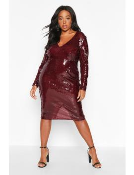 Plus Sequin Plunge Neck Midi Dress by Boohoo