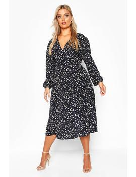 Plus Heart Print Wrap Midi Dress by Boohoo
