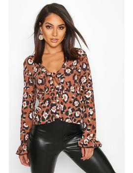 Leopard Tie Front Flute Sleeve Top by Boohoo