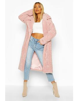 Oversized Textured Faux Fur Coat by Boohoo