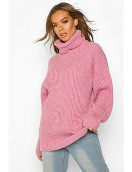 Oversized Rib Knit Textured Roll Neck Jumper by Boohoo