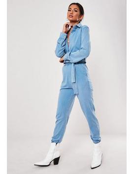 blue-acid-wash-utility-jumpsuit by missguided