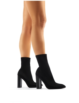 Billie Black Stretch Flared Heel Sock Fit Ankle Boots by Public Desire