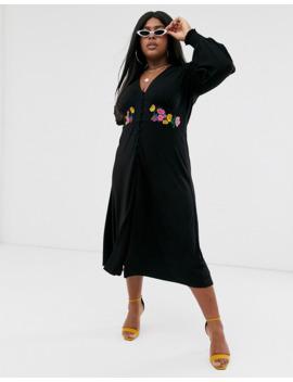 Asos Design Curve Maxi Embroidered Tea Dress by Asos Design