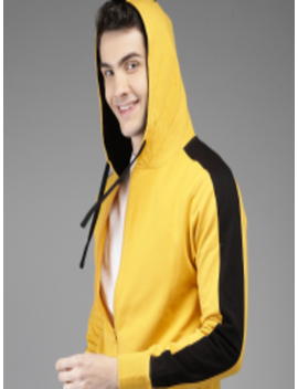 Men Yellow Solid Hooded Sweatshirt by Here&Now