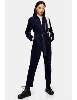 Navy Corduroy Boiler Suit by Topshop
