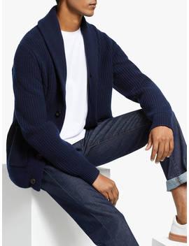 John Lewis & Partners Wool Cashmere Shawl Collar Cardigan, Navy by John Lewis & Partners