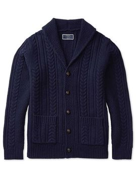 Navy Chunky Cable Lambswool Shawl Neck Cardigan by Charles Tyrwhitt
