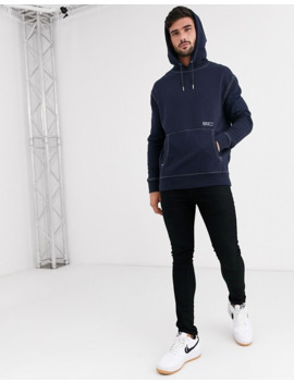New Look Contrast Stitch Overhead Text Hoodie In Navy by New Look