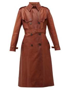 Belted Grained Leather Trench Coat by Prada