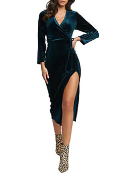 Morgan Velvet Side Split Dress by Bardot