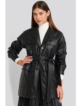 Power Shoulder Pu Jacket Black by Na Kd Trend