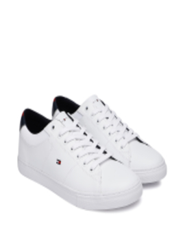 Men White Leather Sneakers by Tommy Hilfiger