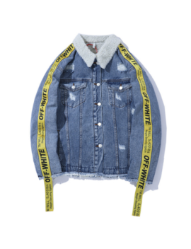 New Off#White Lamb Ribbon Belt Denim Sweater Jacket Thick Men's Casual Jacket by Ebay Seller