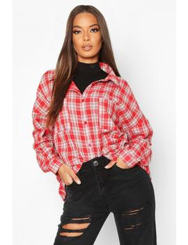 Woven Oversized Pocket Detail Check Shirt by Boohoo
