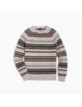 Striped Fair Isle Crewneck Sweater In Supersoft Wool Blend by J.Crew