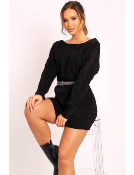Black Cable Knit Off Shoulder Jumper Dress   Berry by Rebellious Fashion