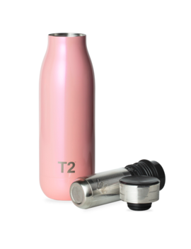 T2 Stainless Steel Etched Lid Flask Pearlised Pink by T2 Tea