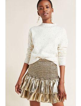 Sibyl Smocked Metallic Mini Skirt by Dolan Left Coast