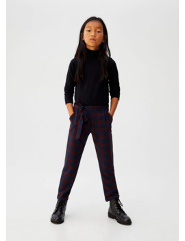 Bow Belt Check Trousers by Mango