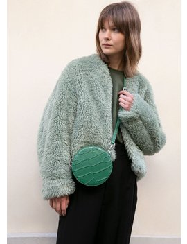 Mint Green Faux Fur Bomber Jacket by The Frankie Shop